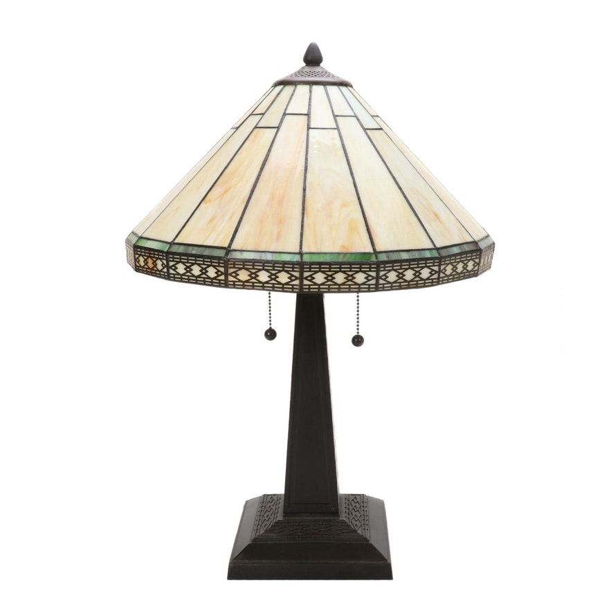 Arts and Crafts Style Slag Glass Table Lamp, 21st Century