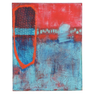 """Debbi Kleisch Abstract Oil and Cold Wax Painting """"The Edge #1,"""" 21st Century"""