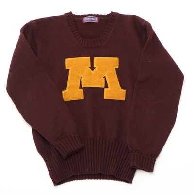 "University of Minnesota ""Golden Gophers"" Spalding Wool Letterman Sweater, 1930s"