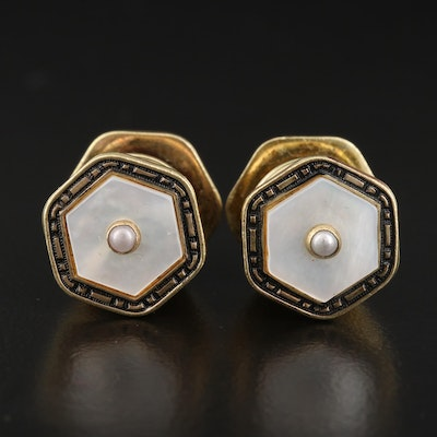 Vintage Kum-A-Part Mother of Pearl Cufflinks