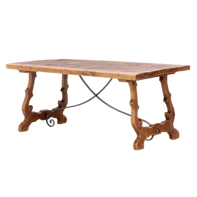 Spanish Baroque Style Iron-Mounted Pine Dining Table
