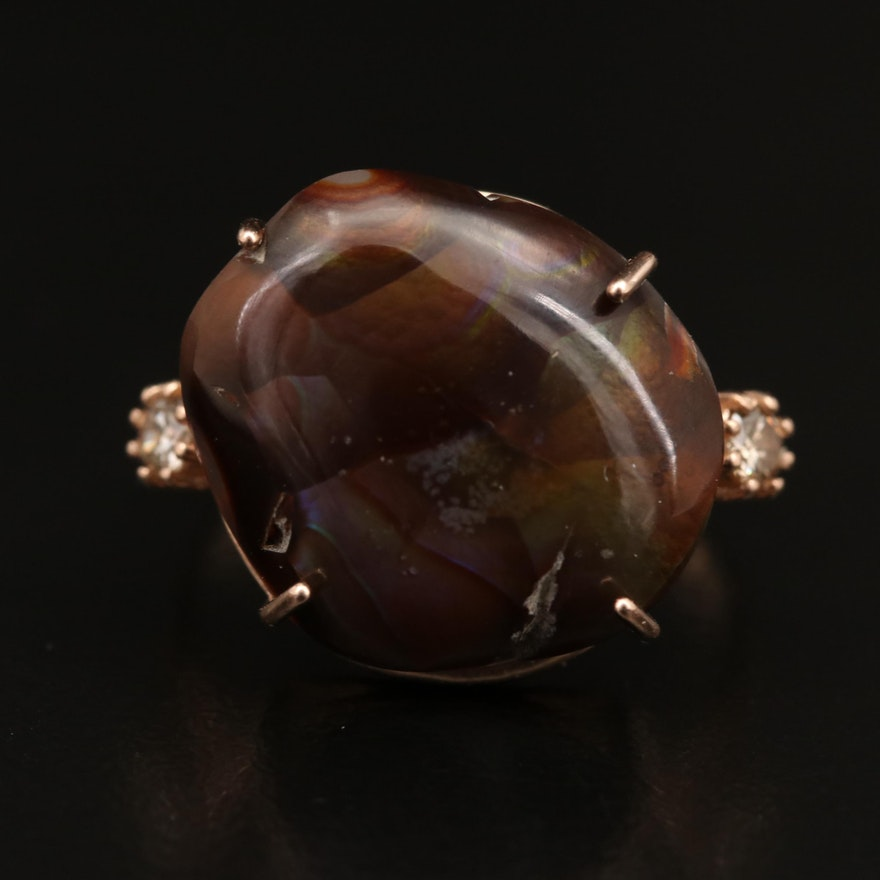 14K Agate and Diamond Ring