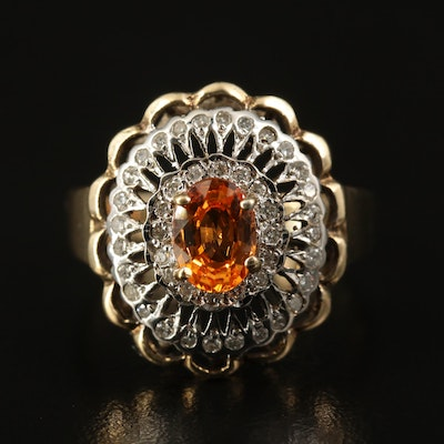 10K Spessartine and Diamond Ring with Scalloped Edges