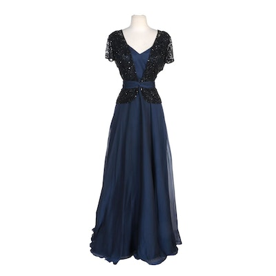 Alberto Makali Navy Silk Evening Gown with Beaded Overlay