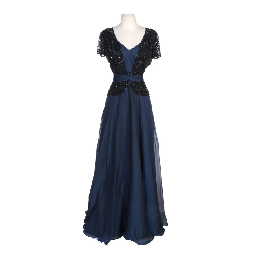 Alberto Makali Navy Silk Evening Gown with Beaded Overlay