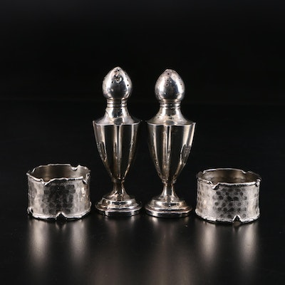 M. Fred Hirsch Co. Sterling Silver Shakers and Other Silver Plate Napkin Rings