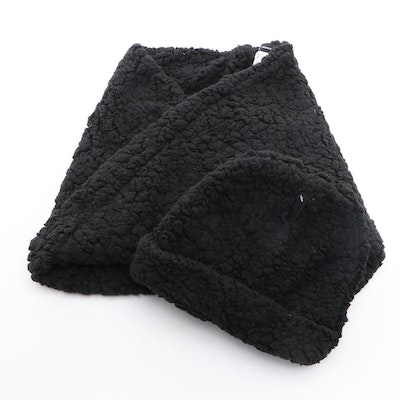 INC International Concepts Black Faux Fur Infinity Cowl and Beanie