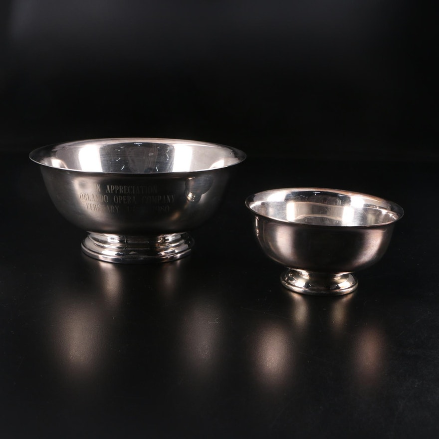 "Gorham and Fisher Silver Plate ""Paul Revere"" Bowls, Late 20th Century"