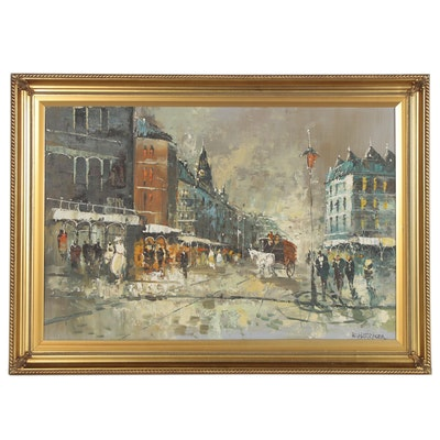 European Street Scene Oil Painting, Late 20th Century