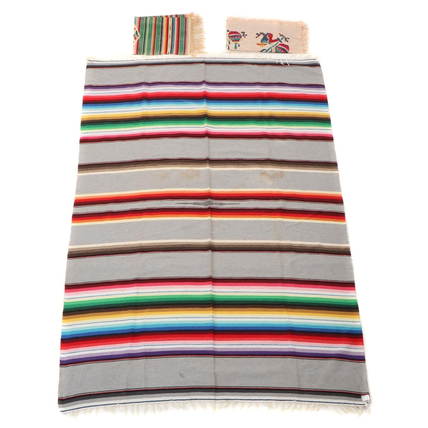 El Paso Saddle Blanket, Co. Handwoven Sarape with Other Decorative Textiles