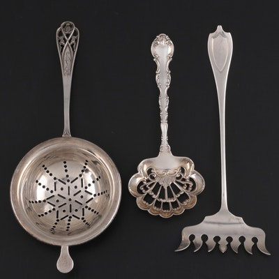 "Gorham ""Strasbourg"" Bonbon Spoon with Other Sterling Serving Utensils"