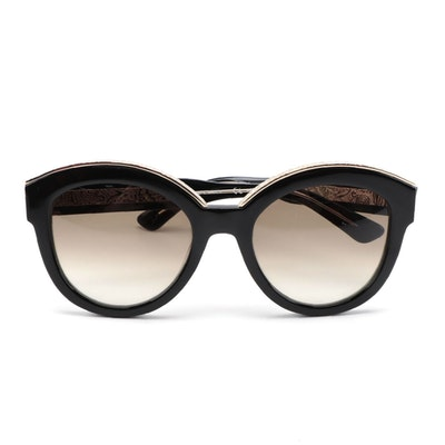 ETRO ET604S Black and Gold-Tone Embossed Accented Frame Sunglasses