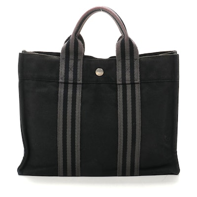 Hermès Fourre Tout PM Tote in Black/Grey Cotton Canvas