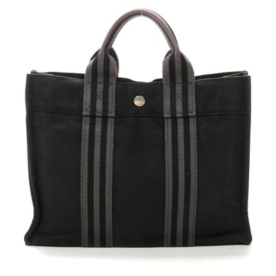Hermès Fourre Tout PM Tote in Black/Grey Cotton Canvas