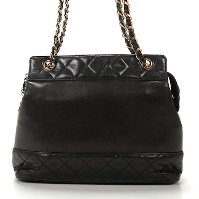Chanel Chain Strap Tote in Matelassé Black Lambskin