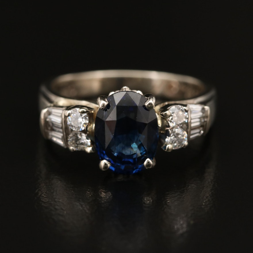 14K 3.19 CT Sapphire and Diamond Ring with GIA Report