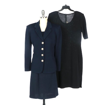 St. John Brand Dress and Navy Blazer with Navy Skirt Set
