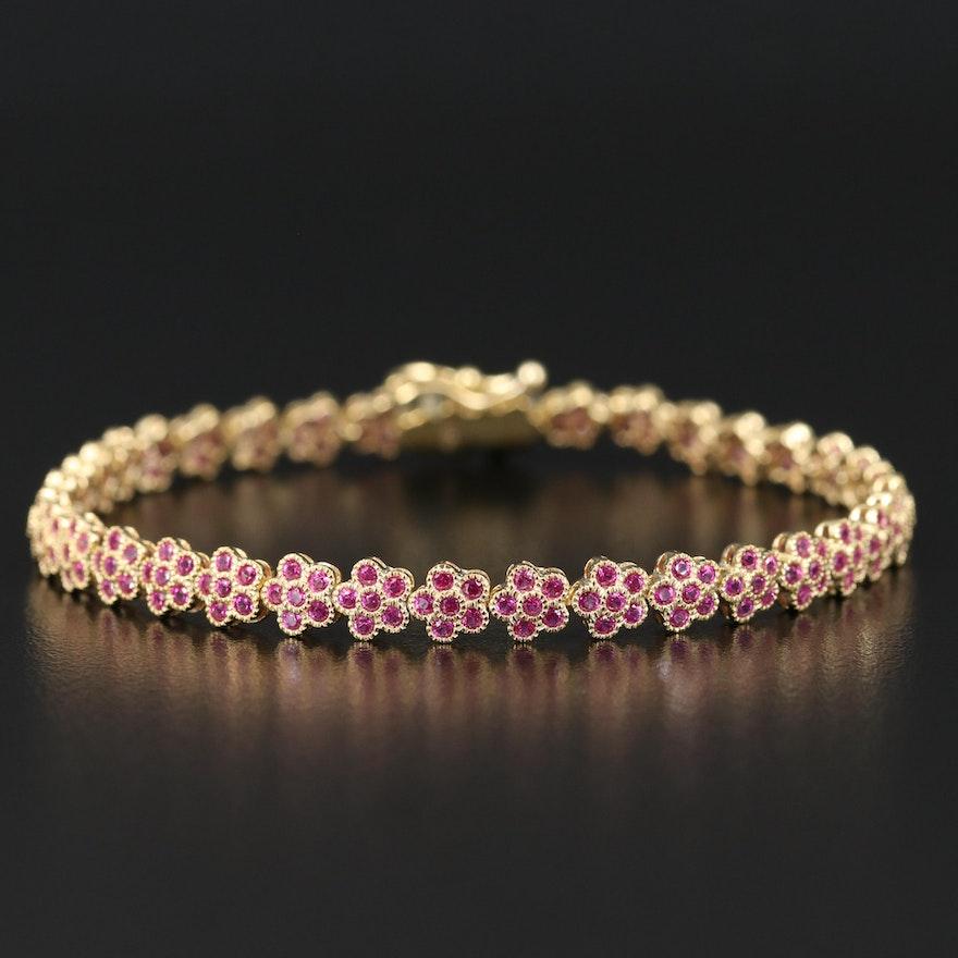 Sterling Silver Ruby Flower Bracelet