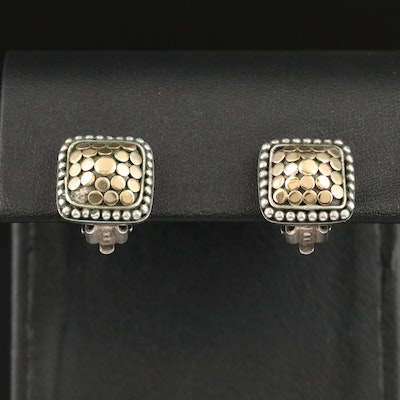 John Hardy Sterling Silver Square Dot Earrings with 18K Accents