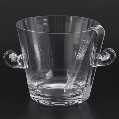 Tiffany & Co. Scroll Handled Glass Ice Bucket with Plastic Tongs