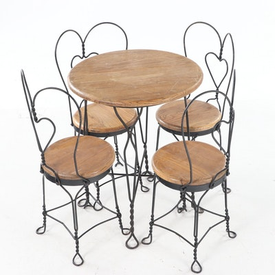 Five-Piece Oak and Twisted Wire Child's Ice Cream Parlor Set, 20th Century