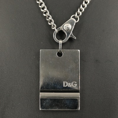 Dolce & Gabbana Curb Chain Necklace with Tag Pendant