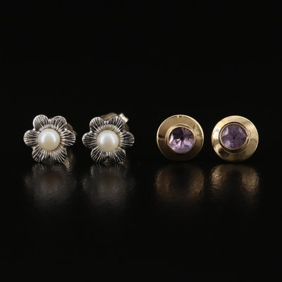14K Amethyst Studs with Floral Pearl Stud Earrings