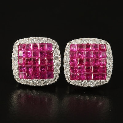 18K Ruby and Diamond Stud Earrings
