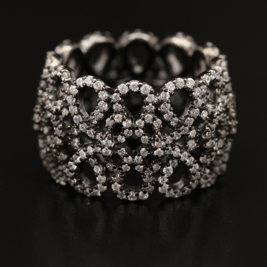 Sterling Silver Openwork Wide Band