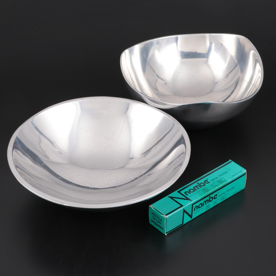 "Nambé ""Maze"" and ""Tri Corner"" Bowls with Nambé Metal Polish"
