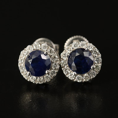 14K 2.00 CTW Sapphire and Diamond Halo Stud Earrings