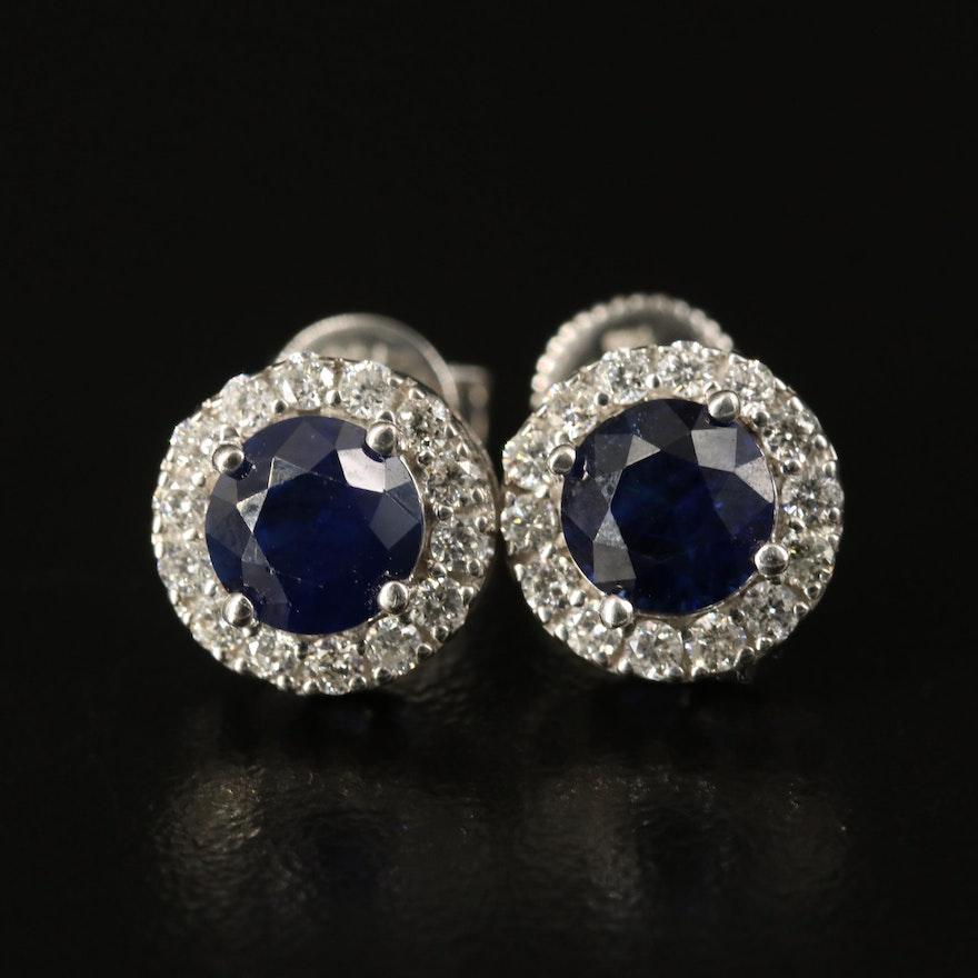 14K 2.00 CTW Sapphire and Diamond Halo Stud Earrings