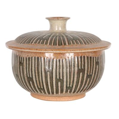 Timothy Weber Lidded Sgraffito Stoneware Vessel, 21st Century