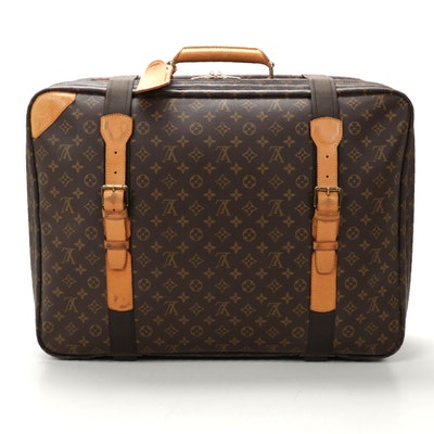 Louis Vuitton Satellite 60 Soft Sided Suitcase in Monogram Canvas and Leather
