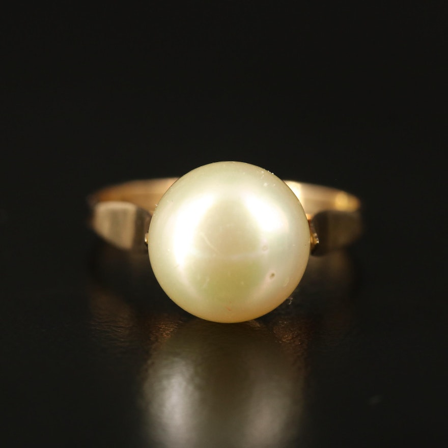 18K Faux Pearl Ring