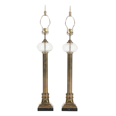 Pair of Chapman Empire Style Brass and Glass Lamps on Black Marble Bases, 1987