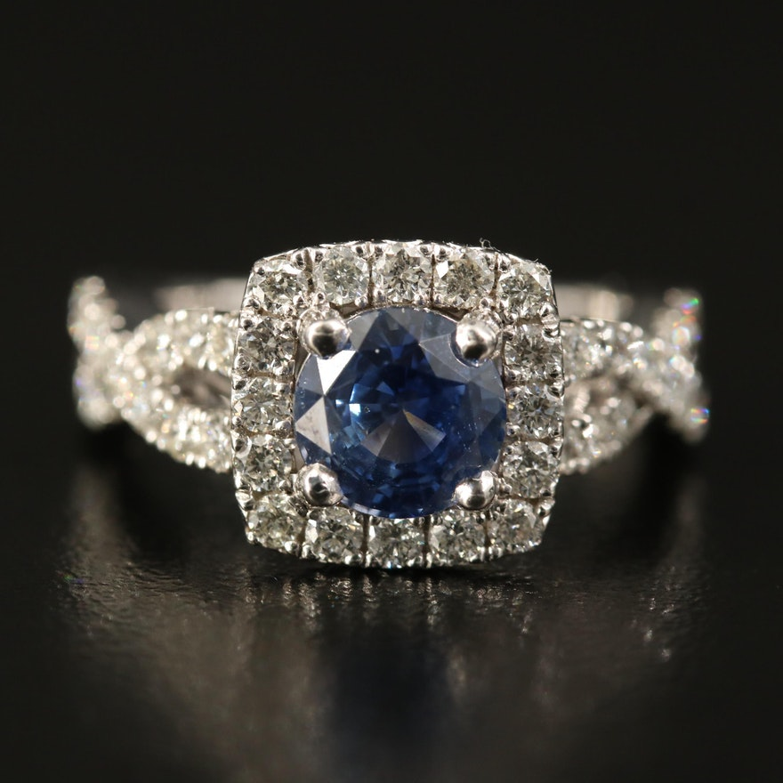 18K 1.69 CT Sapphire and Diamond Halo Ring