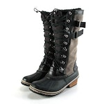 Sorel Conquest Carly II Waterproof Boots In Gray Suede and Black Leather Trim