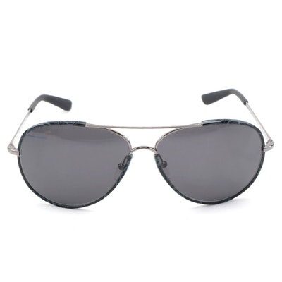 ETRO ET100S Black and Gray Paisley Frame Aviators