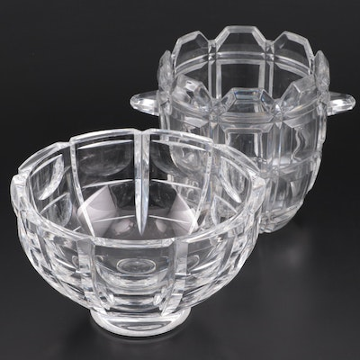 "Orrefors ""Thousand Windows"" Crystal Bowl and Towle Ice Bucket"