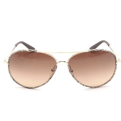 ETRO ET100S Brown Paisley Frame Aviators with Gold Tone Accents