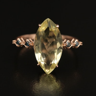 14K Citrine and Diamond Ring