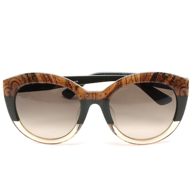 ETRO ET600SA Paisley Green Acetate Frame Sunglasses with Gradient Lenses