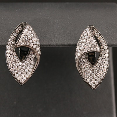 Sterling Silver Cubic Zirconia Contour Earrings