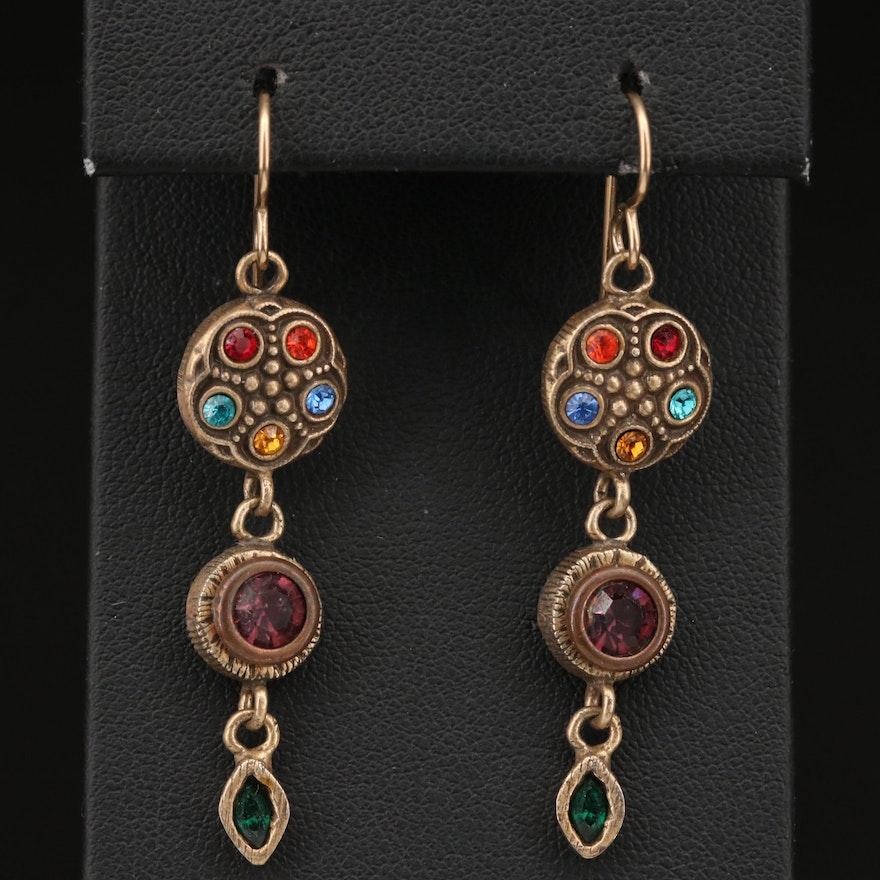 Rhinestone Multi Color Dangle Earrings