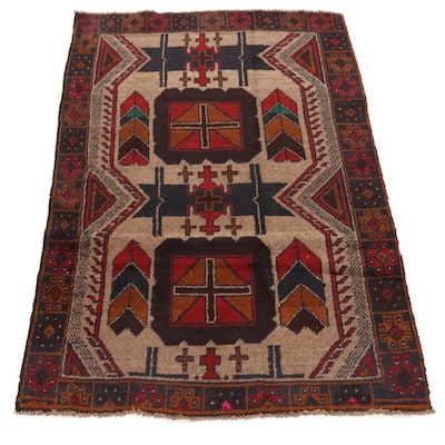 3' x 4'7 Hand-Knotted Afghan Baluch Tribal Area Rug