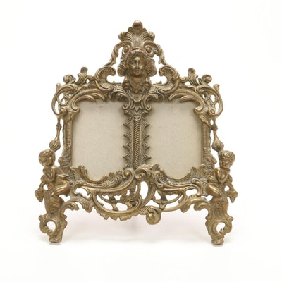 Belle Époque Cast Brass Easel Frame, Early 20th Century