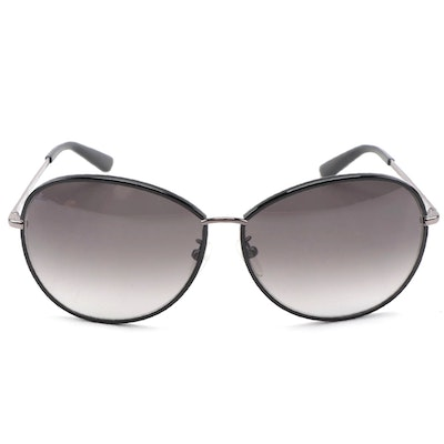 ETRO ET101SK Black and Silver-Tone Metal Frame Sunglasses