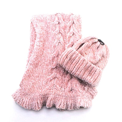 Charter Club Blush Knit Scarf and Beanie Set