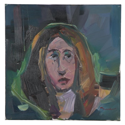 "Jose Trujillo Oil Painting ""Quiet Moment,"" 2020"